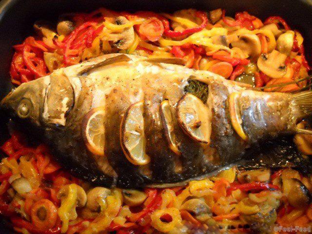 Карп запеченный в духовке с грибами рецепт в фольге с картошкой