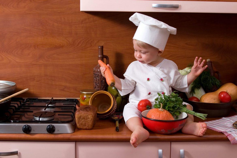 child-cook-kitchen-stove-bread-vegetables-pumpkin-tomato-carrot-parsley-rebnok-povar-kuxnya-plita-xleb-ovoshhi-tykva-pomidor-morkov-petrushka