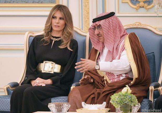 US First Lady Melania Trump chats with Saudi Deputy Crown Prince Muhammad bin Nayef bin Abdulaziz al-Saud at a ceremony where US President Donald Trump received the Order of Abdulaziz al-Saud medal from Saudi Arabia's King Salman bin Abdulaziz al-Saud at the Saudi Royal Court in Riyadh on May 20, 2017. / AFP PHOTO / MANDEL NGAN (Photo credit should read MANDEL NGAN/AFP/Getty Images)