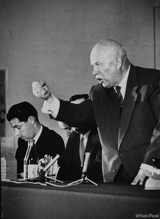 Soviet Premier Nikita Khrushchev ranting w. raised clenched fist while standing at miked table w. other Soviet officials at press conference as he cancels disarmament summit meeting because the US will not apologize for the Amer. U-2 spy plane incident. (Photo by Carl Mydans//Time Life Pictures/Getty Images)